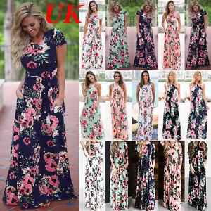 a1e994726a7e Womens Floral Print Short Sleeve Boho Dress Ladies Evening Party ...