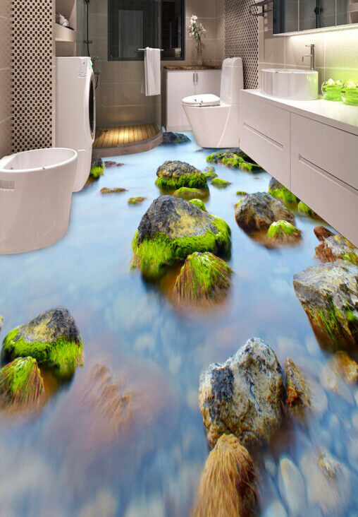 3D Stone River View 45 Floor WallPaper Murals Wall Print Decal AJ WALLPAPER CA