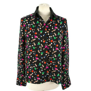 Warehouse-8-10-Black-Multi-Abstract-Long-Sleeve-Shirt-Blouse-Collared-Womens
