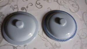 DEUX-COUVERCLES-faience-GIEN-Vintage-emboitement-15-4-cm