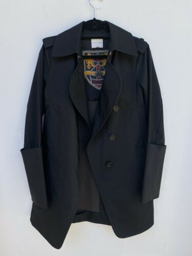 Celine Black Trench Coat Size 38 Peacoat Waist Tie