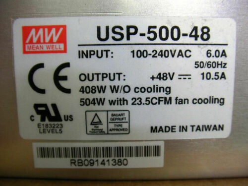 MW Mean Well USP-500-48 AC//DC Power Supply Single Output 48 Volt 10.5A 408W NEW