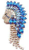 Native Indian Face Brooch,gold Plated Costume Jewelry,blue&white Crystal,america