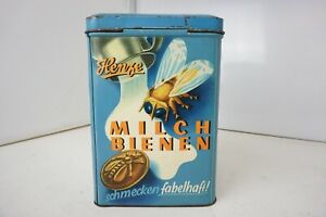 Henze-Milch-Bienen-Blechdose-Alt-Antik-Bonbon-Original-Retro-Vintage-Sammler