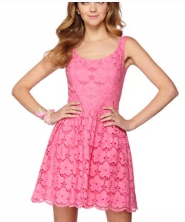 Lilly Pulitzer Calhoun Rosa Eyelet A Line Dress Größe 4 Floral