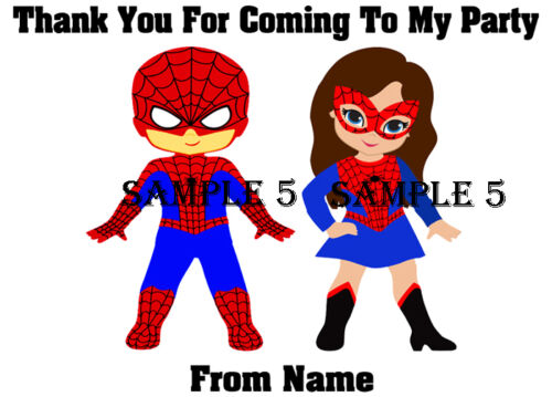 Personalised Superhero Thank You Stickers for party bags//Sweet Cones etc Ref 205