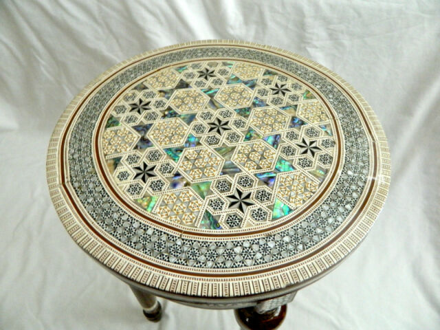 """Egyptian Inlaid Mother of Pearl Wooden Table Round 12"""" (Piece of Art) From Egypt"""