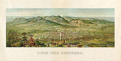 "1890 View COLORADO SPRINGS, Pikes Peak, 24""x12""  Art Print, Rockies"