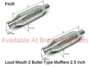 SLP-Bullet-LOUD-MOUTH-2-Mufflers-Stainless-2-5-034-Inlet-Outlet-PAIR-31063