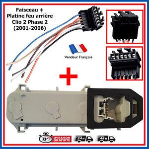 Reparation-Faisceau-Cable-Platine-Porte-Lampes-feux-arriere-pour-Clio-2-Phase-2