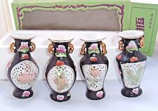 Floral vases Vintage Shantou Small Chinese decorative porcelain set of 4 in box