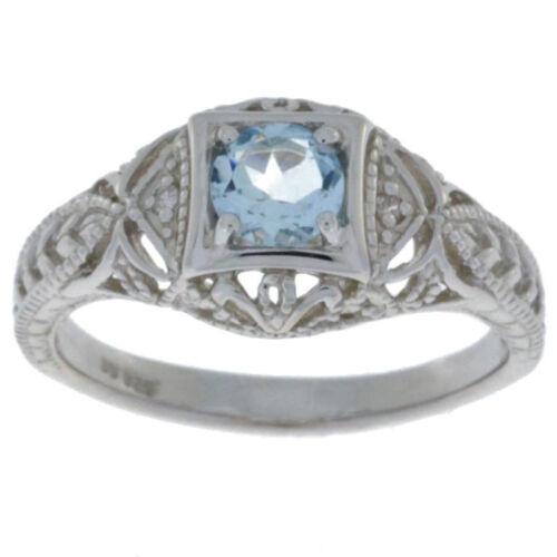 0.50 Ct Natural Aquamarine /& Diamond Round Ring .925 Sterling Silver