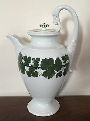 Antique 19th c. Meissen Ivy Porcelain Tea Urn Chocolate Coffee Pot Biedermeier