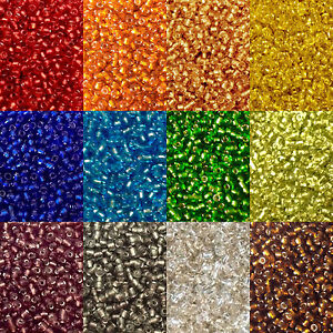 50g-glass-seed-beads-Silver-Lined-size-11-0-approx-2mm-choice-of-colours