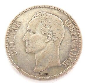1935-VENEZUELA-5-BOLIVARES-SILVER-COIN