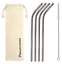 thumbnail 3 - Bent 4 Pack Stainless Steel Metal Straws Gift Set Reusable [Choose your Colour]