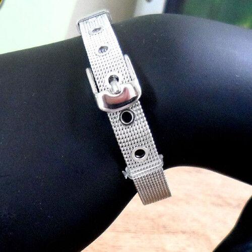 """Bracelet /""""Belt/"""" ARGENTE 21 cm // 8 mm Façon ceinture Métal Maille tressée"""