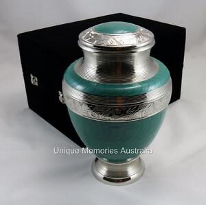 Solid Brass Adult Green Turquoise Cremation Cinerary Memorial Ashes Funeral Urn