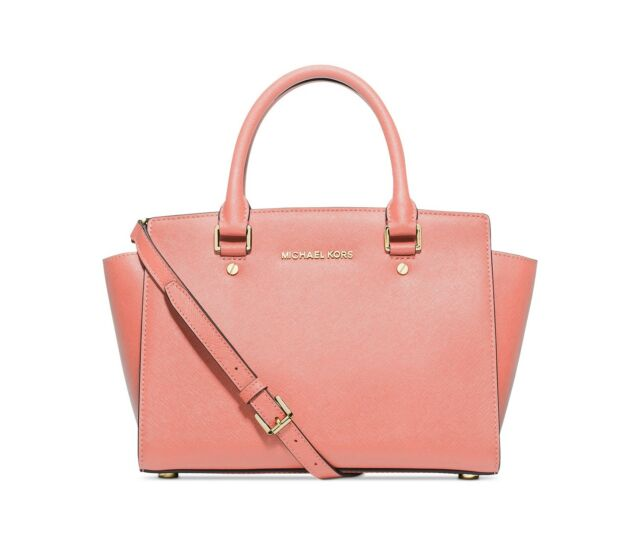 NWT MICHAEL KORS MEDIUM SELMA SAFFIANO LEATHER SATCHEL BAG PALE PINK GOLD   298 3b957f312c7a0