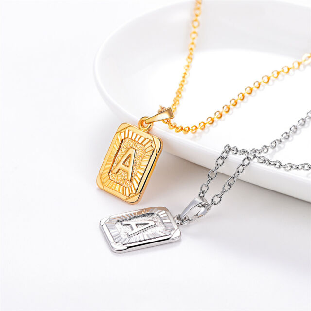 Gold Stainless Steel Alphabet Initial Letters Pendant Name Necklace from A-Z E gold