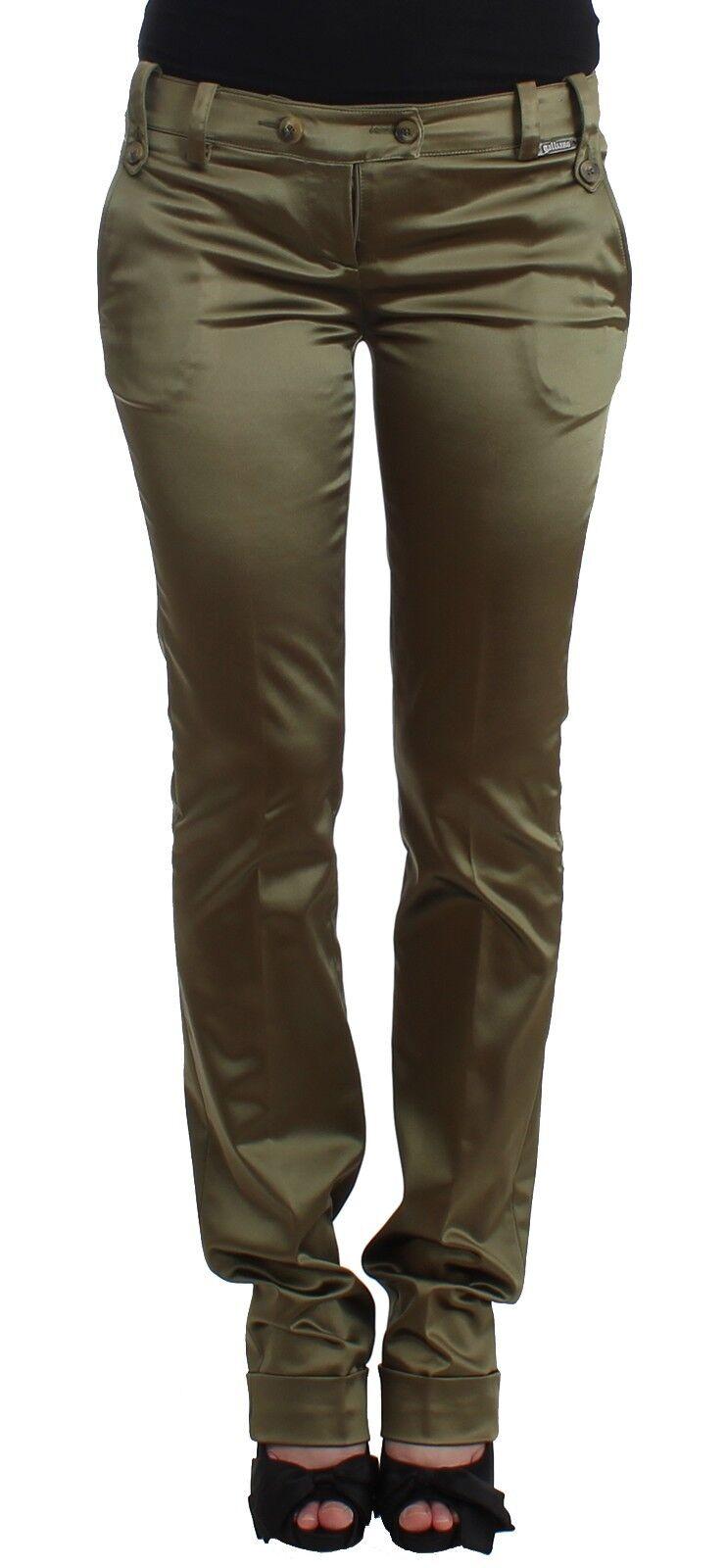 NEW  JOHN GALLIANO Pants Green Straight Leg Dress Slim Skinny Nylon IT40 US6