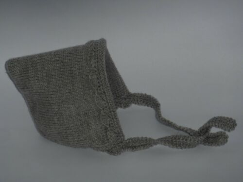 NEW Baby Infant Grey Hand Knitted Crochet Hat Beanie Bonnet Pixie 6-12 months