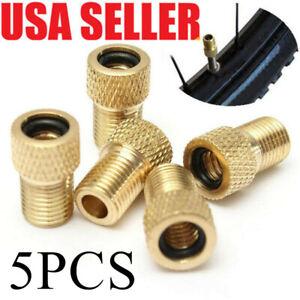 5PCS Brass Presta Valve Schrader Adaptor Bicycle Mountain Bike Tire Tube Pump/_