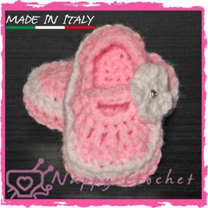 Scarpine Da Culla A Uncinetto Bimba Ballerine Idea Regalo Crochet