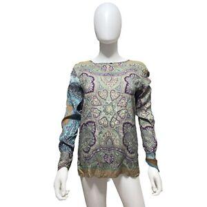 ETRO Milano Paisley Geometric Silk Blend Long Sleeve Blouse Women's Size 40