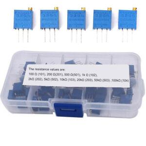 50Pcs-set-10-Values-3296W-Multiturn-Variable-Resistor-Trimmer-Potentiometer-Kit