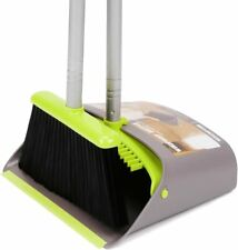 Light Purple Dustpan And Brush Sets with Extra Long Handle Telescopic Upright Broom And Dustpan Indoor Outdoor 37.1 inches 48.2 inches Handle Cleaning Set Upright Sweep Set
