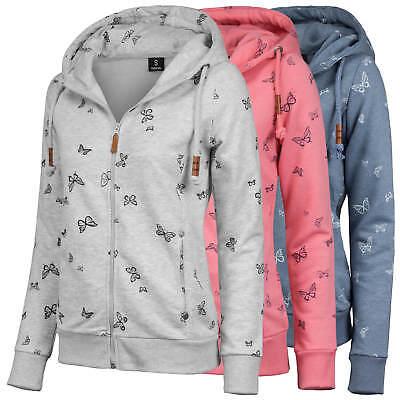 SUBLEVEL Damen Sweatjacke Sweat Jacke mit Kapuze Schmetterling Butterfly Print | eBay