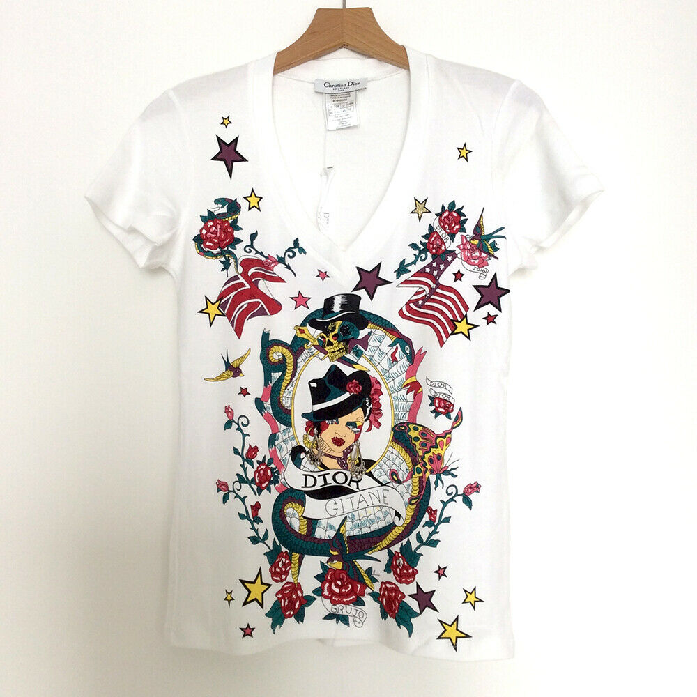 Vintage NWT Dior Weiß Tattoo T Shirt Top Christian Dior UK14 John Galliano