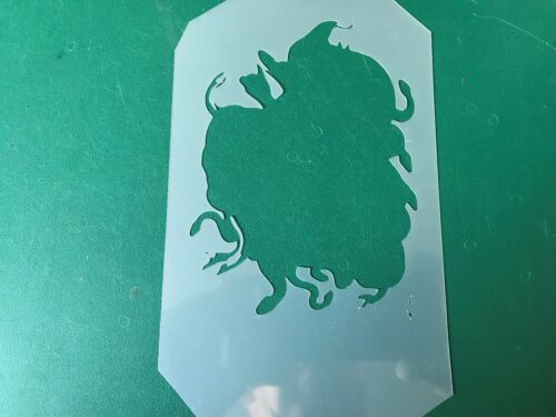 Multilayer STEP BY STEP airbrush stencil Medusa 1