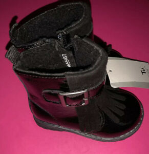 Girls Infant Black Patent Boots Size 4