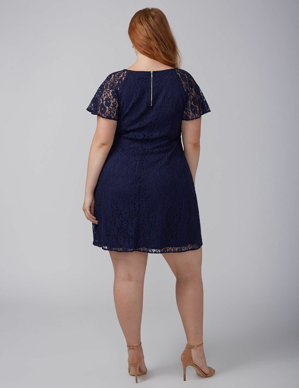 New Lane Bryant Plus Size Navy Flutter Sleeve Lace Swing Dress Sz 14