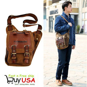 Men's Vintage Canvas Leather Messenger Shoulder Bag Military Travel Satchel BP