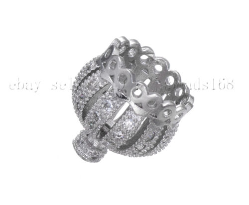 Clear Cubic Zirconia Micro Pave Exquisite Crown Bracelet Connector Charm Beads
