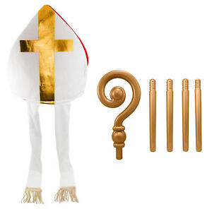 Adult Bishop Priest Pope Hat And Gold Crozier Staff Saint Costume Accessory Set