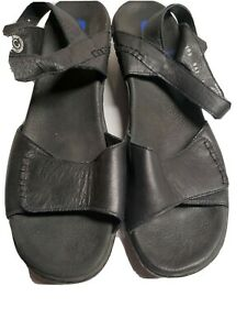 Wolky-41-9-9-75-Black-Sandals-Ankle-Strap-Leather-Comfort-Shoes