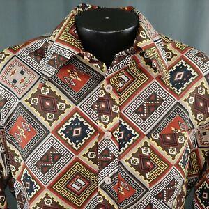 VTG-70s-Tribal-Print-Shirt-Herren-grosse-Polyester-Perma-gedrueckt-kein-Eisen