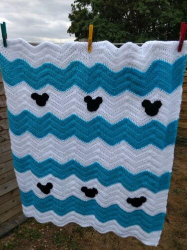 Baby Shower handmade crochet Blue Mickey Mouse Blanket Boy