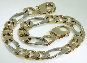 Man-039-s-10k-Yellow-White-Gold-Figaro-Link-Bracelet-21-Grams