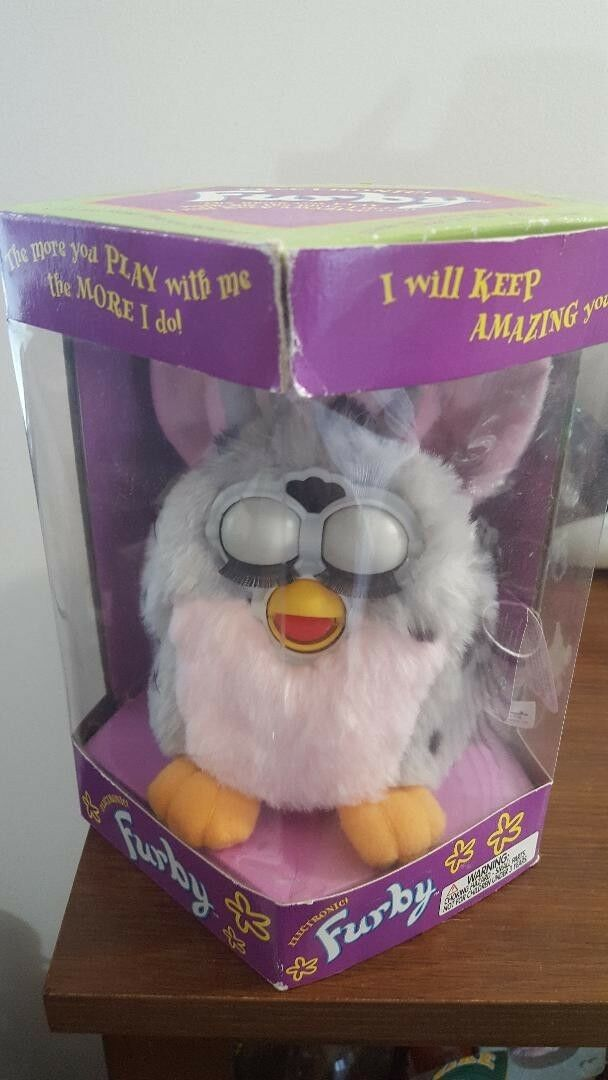 1998 1998 1998 Original FURBY by Tiger Electronics Pink Belly & Grey w Spots 70-800 in Box e2f459