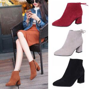 Ladies-Black-Ankle-Boots-Low-Mid-Block-Heels-Chelsea-Zip-Up-Shoes-UK-Sizes-3-10