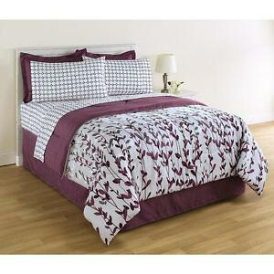 8 piece complete bedding set comforter purple floral nature king queen full twin ebay. Black Bedroom Furniture Sets. Home Design Ideas
