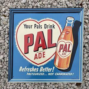 VINTAGE PAL ADE DRINK EMBOSSED SIGN PORCELAIN OIL GAS STATION SODA PETROLIANA