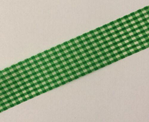 Easter Gingham Ribbon Green 25mm X 2m