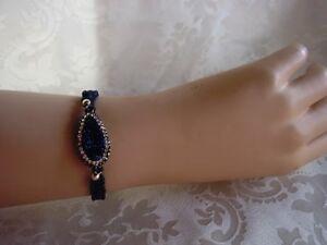 Makramee-Armband-Druse-Plastinlin-Strass-Blau-Crystal-Handarbeit