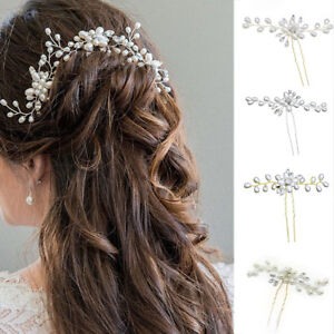 04d900b642 Details about Flower Wedding Hair Pins Comb Bridal Clips Gold Silver  Crystal Pearl Hair Clip.